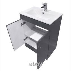Bathroom Vanity Unit Basin Sink Storage Tall Cabinet Furniture Toilet Gloss Grey