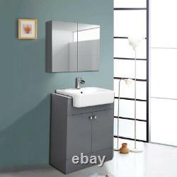 Bathroom Vanity Unit Basin Sink Toilet Mirror Cabinet Storage Furniture Grey