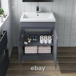 Bathroom Vanity Unit Basin Sink Toilet WC 600mm Furniture Storage Modern Grey