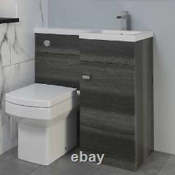 Bathroom Vanity Unit Basin Toilet WC Combined Furniture Left/Right Hand Grey