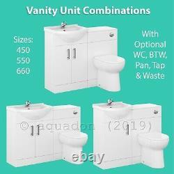 Bathroom Vanity Unit Cabinet Linton WC Toilet White Furniture Unit, Cistern Sink