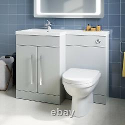 Bathroom Vanity Unit Grey Cabinet Left Hand Sink Basin Storage with WC Toilet