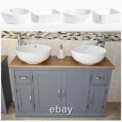 Bathroom Vanity Unit Grey Sink Cabinet Double Ceramic Wash Basin Tap & Plug