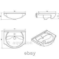 Bathroom Vanity Unit Kass 550mm Sink Basin Cloakroom Furniture Storage Cabinet