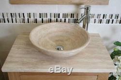 Bathroom Vanity Unit Oak Modern Cabinet Wash Stand Travertine Top & Basin 502