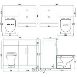 Bathroom Vanity Unit Sink Toilet White Cabinet Left Hand Basin Storage Furniture