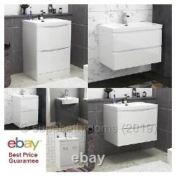 Bathroom Vanity Unit Storage with Sink High Gloss Cabinet 2 drawers