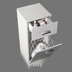Bathroom Vanity Unit Tall Cabinet Laundry Storage Drawer Furniture Mirror Toilet