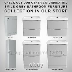 Bathroom Vanity Unit Wall Hung Basin Smile Grey Storage 2 Drawer Cabinet 600mm