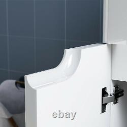 Bathroom Vanity Unit and Sink Basin Floor Standing Storage Cabinet Gloss White