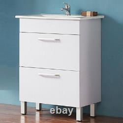 Bathroom Vanity Unit with Basin Sink Wall Hung / Freestanding Storage White 600