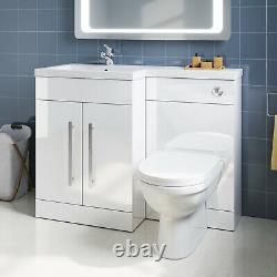Bathroom Vanity WC Unit Wash Basin Set Soft Close Coupled D-Shaped Toilet