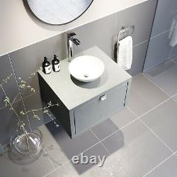Bathroom Wall Hung Vanity Unit Sink Cabinet Wash Basin Sink Storage Drawer 600mm