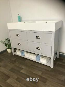 Bathroom vanity unit with double sink 1200mm wide painted washstand