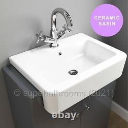 Belfast Grey Bathroom Vanity Unit 670mm 2 Door Storage Cabinet White Gloss Basin
