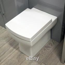 Black Ash Furniture Pack Bathroom Toilet Glass Sink Vanity Unit Designer Suite
