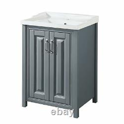 Camson Bathroom Storage Furniture Traditional Grey Basin Sink Vanity Unit 600mm