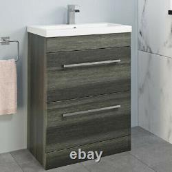 Charcoal Grey 600mm Bathroom Vanity Unit Drawer Basin Concealed Cistern Toilet
