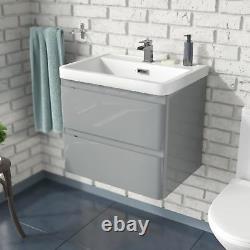 Charta 600mm Bathroom Basin Sink Wall Hung Vanity Unit Light Grey Furniture