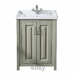 Chiltern 600mm Traditional Stone Grey Bathroom Storage Vanity Unit Basin Sink