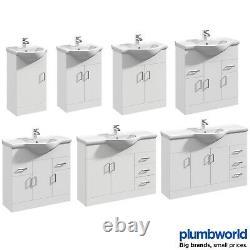 Classic Bathroom Vanity Unit Cloakroom Basin Sink Storage White Various Sizes
