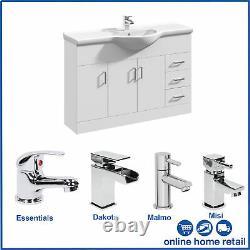 Classic White Bathroom Furniture Storage Vanity Unit and Basin Sink Taps + Waste