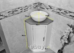 Cloakroom Corner Bathroom Vanity Painted Grey Unit Oak Top Corner Unit
