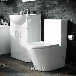 Close Coupled WC Toilet & Basin Vanity Unit Bathroom Suite