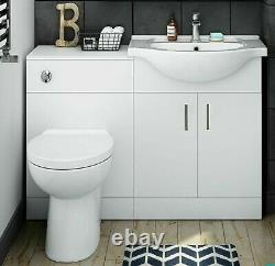 Combined Gloss White Vanity Unit Toilet wc Pan Sink 1050mm Left Furniture suites