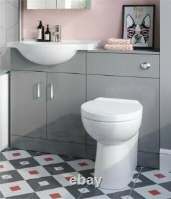 Combined Pebble Grey Vanity Unit Toilet wc Pan Sink 1050mm Furniture suites