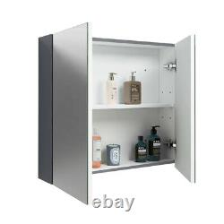 Combined Square Gloss Grey Vanity Unit Toilet & Sink 1160mm Bathroom Furniture