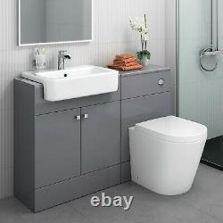 Combined Square Gloss Grey Vanity Unit Toilet & Sink 1167mm Bathroom Furniture