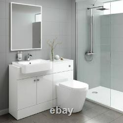 Combined Square Gloss White Vanity Unit Toilet & Sink 1160mm Bathroom Furniture