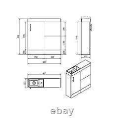 Combined Vanity Unit Basin Toilet Pan WC Bathroom Sink Furniture Gloss 800mm WOW