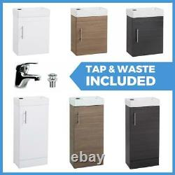 Compact Bathroom Vanity Unit & Basin Sink Cloakroom Floor & Wall Units With Tap