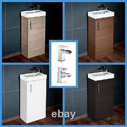 Compact Bathroom Vanity Unit & Basin Sink Vanity 400mm Floor Standing Tap Waste