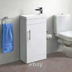 Compact Bathroom Vanity Unit Small Sink White Gloss Mini Basin Cloakroom Cabinet