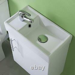 Compact Wall Hung Vanity Unit Ceramic Basin Sink Cloakroom Bathroom White Small