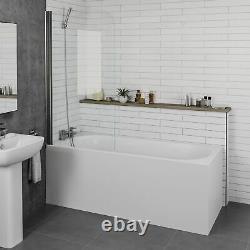 Complete Bathroom Suite 1700mm Bath Screen WC Basin Vanity Unit Shower Taps Set