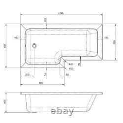Complete Bathroom Suite L Shaped 1600mm RH Bath Basin Vanity Unit WC Shower Taps