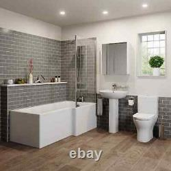 Complete Bathroom Suite L Shaped LH/RH Bath Basin 600 Vanity Unit WC Shower Taps