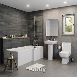 Complete Bathroom Suite RH L Shaped Bath Toilet Vanity Unit Basin Taps Shower