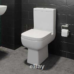 Complete L Shaped Bathroom Suite Close Coupled Toilet Vanity Unit Bath Taps Grey