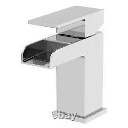 Complete L Shaped Bathroom Suite Close Coupled Toilet Vanity Unit Bath Taps Set