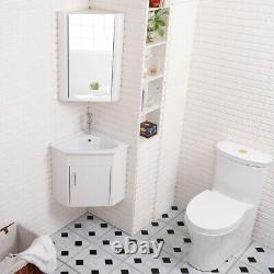 Corner Bathroom Vanity Unit Cloakroom Cabinet Ceramic Basin Sink Space Saving