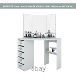 Corner Dressing Table Vanity Dresser Makeup Desk with Mirrors&Drawers Girls Wood
