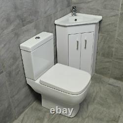 Corner Vanity 2 Door Basin Sink Unit + RAK Series 600 Compact Toilet Cloakroom