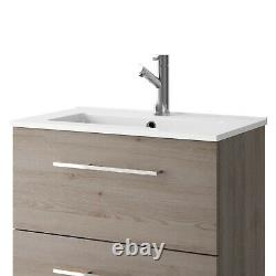 Croydex Wooden Grey Oak Drawer & Ceramic Sink Basin Vanity Unit Bathroom Storage