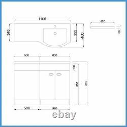 D Shape Bathroom Vanity Unit Basin Sink Bathroom WC Unit BTW Toilet White
