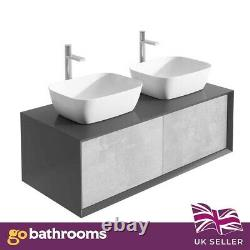 Dali Wall Mounted Bathroom Double Vanity Unit Black & Concrete Grey 1200mm